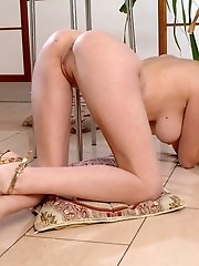 An Absolutely Hot Girl With A Perfect Slim Body And Big Tits Poses Naked On The Floor.