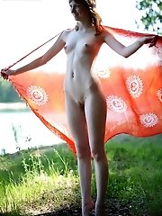 Redheaded Teen Girl With Nice Slim Body Showing Us Amateur But Sex Striptease Outdoors