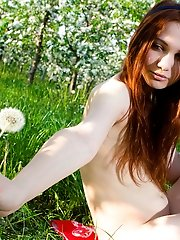 Beautiful Redhead Teen With Bow In Hair Posing Absolutely Naked Among The Flowering Trees.