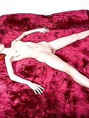 Reddish Color Always Represented The Unlimited Sexuality. Lovely, Very Slim Teen Girl Pose Naked On