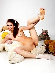 She Always Loved To Play Around With Her Toys And Today She Is Showing Off Her Fine Teen Pussy Besid
