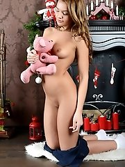 Gorgeous Shapely Sweetie Taking Off Clothes And Showing Naughty Shaved Pussy In Christmas.